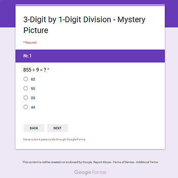 Thanksgiving: 3-Digit by 1-Digit Division - Math Mystery Picture - Google Forms