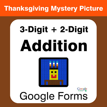 Thanksgiving: 3-Digit + 2-Digit Addition - Mystery Picture - Google Forms