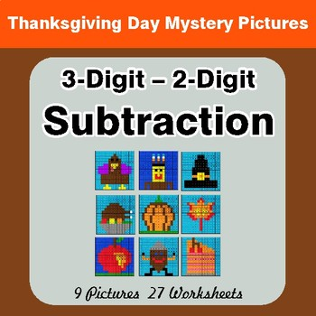 Thanksgiving: 3-Digit - 2-Digit Subtraction - Color-By-Number Mystery Pictures