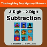 3-Digit - 2-Digit Subtraction Color-By-Number Thanksgiving Math Mystery Pictures