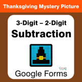 Thanksgiving: 3-Digit - 2-Digit Subtraction - Mystery Pict