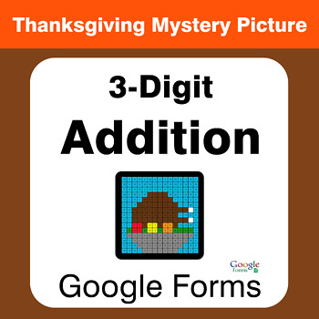 Thanksgiving: 3-Digit Addition - Mystery Picture - Google Forms
