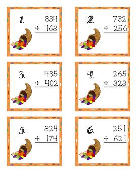 Thanksgiving 3 Digit No Regrouping Task Cards