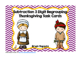 Thanksgiving 3 Digit Subtraction Regrouping Task Cards