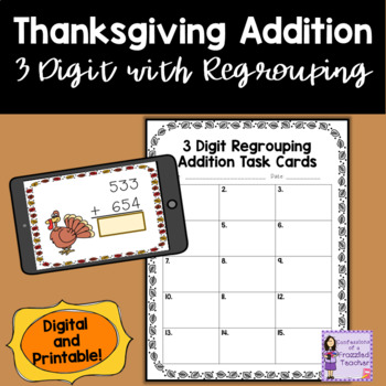 Thanksgiving 3 Digit With Regrouping Task Cards