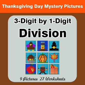 Thanksgiving: 3-Digit by 1-Digit Division - Color-By-Number Mystery Pictures