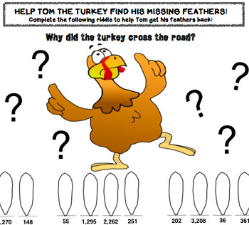 Thanksgiving 3rd 4th Grade Math Center CracktheCode 3 Digit 4 Digit Subtraction