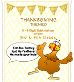 Thanksgiving 3rd 4th Grade Math Center CracktheCode 3 Digit 4 Digit Subtraction
