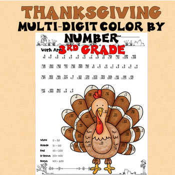 Thanksgiving 3rd Grade Color by Number