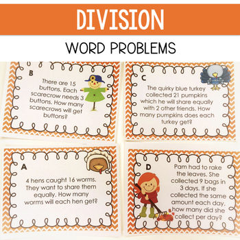 Division Task Cards: Thanksgiving