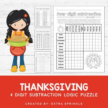 Thanksgiving 4 Digit Subtraction Logic Puzzle