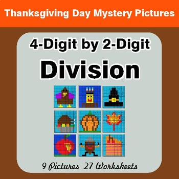 Thanksgiving: 4-Digit by 2-Digit Division Color-By-Number Math Mystery Pictures