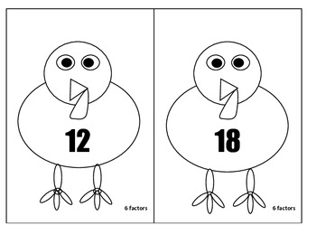 Thanksgiving Math- 4th / 5th Grade Lil' Turkey Factoring Game for Common Core