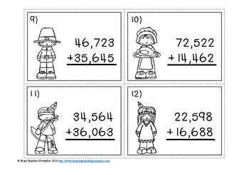 Thanksgiving 5 Digit Addition Regrouping Task Cards
