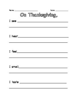 Thanksgiving 5 Senses Writing