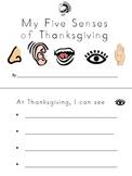 Thanksgiving 5 senses booklet