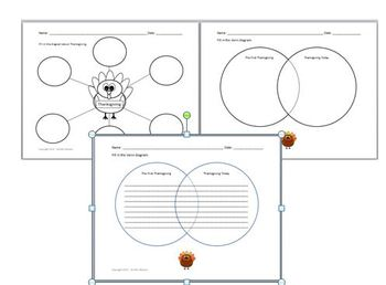 Thanksgiving 6 circle diagram and Venn diagram Graphic Organizer