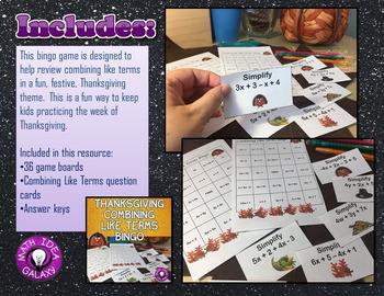 Thanksgiving 7th and 8th Grade Math Activity Pack