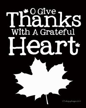 Thanksgiving 8x10 printable white on black