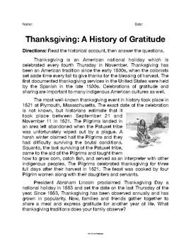 Thanksgiving: A History of Gratitude Mini-Lesson
