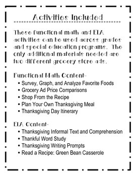 Thanksgiving: A Monthly Unit for November with Functional Math & ELA
