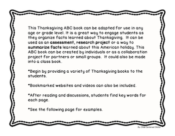 Thanksgiving ABC Writing Book