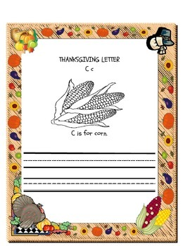 Thanksgiving ABC Coloring and Letter Writing Practice Booklet