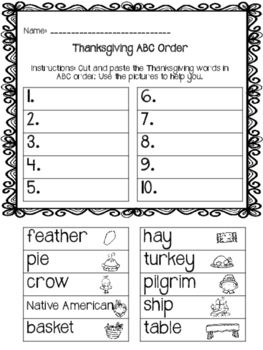 ABC Order - Thanksgiving