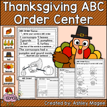 Thanksgiving ABC Order Center/Station with differentiation options