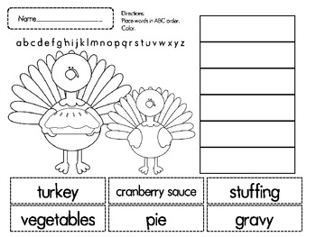 Thanksgiving ABC Order Cut and Paste