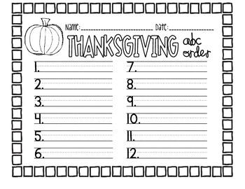 thanksgiving abc order freebie by morgan ramsay tpt rh teacherspayteachers com
