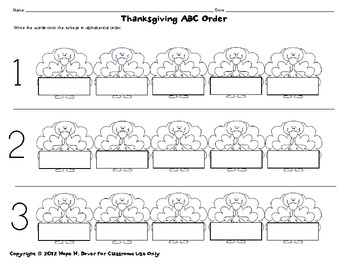 Thanksgiving ABC Order Literacy-Word Work Center