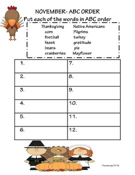 Thanksgiving ABC Order Sheet!