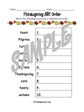 Thanksgiving ABC Order Worksheet