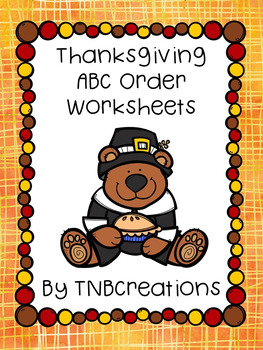 Thanksgiving ABC Order Worksheets