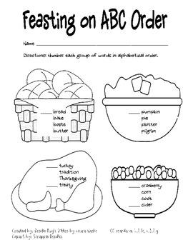 Thanksgiving ABC Order and Guide Words Pack (CC L.2.2e, L.3.2.g, L.2.4e, L.3.4d)
