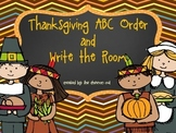 Thanksgiving ABC Order and Write the Room