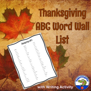 Thanksgiving Word Wall List