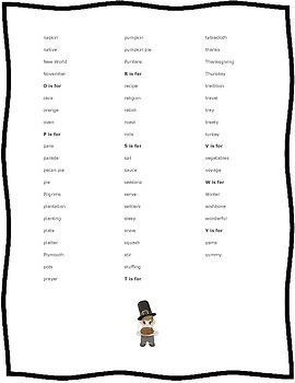 Thanksgiving Word Wall List
