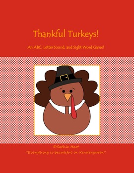 Thanksgiving ABC and Sight Word Literacy Center Game