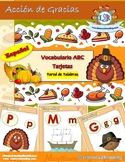 Thanksgiving ABC card/word wall in Spanish + Activities