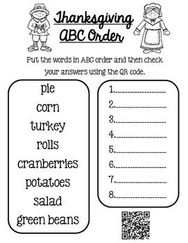 Thanksgiving ABC order QR code