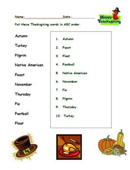 Thanksgiving ABC order elementary