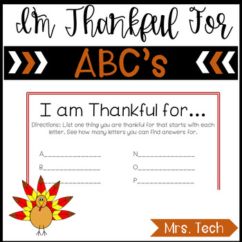I Am Thankful For ABC's (No Prep) FREEBIE