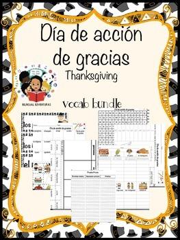Thanksgiving Acción de gracias - Vocab Bundle and Literacy Centers - Spanish