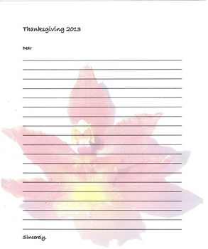 Thanksgiving Acknowledgement/Grateful Letter