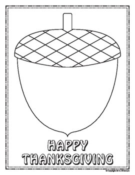 Thanksgiving Acorn - Finish the Picture (Symmetry) & Coloring Sheet