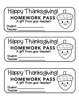 """Thanksgiving"" Acorn Friend - Homework Pass –Holiday FUN! (color & black line)"