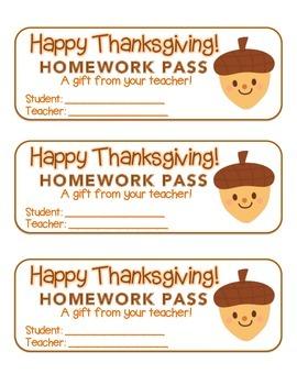 """Thanksgiving"" Acorn Friend - Homework Pass –Holiday FUN!"