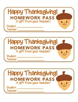 """Thanksgiving"" Acorn Friend - Homework Pass – Holiday FUN! (full color version)"